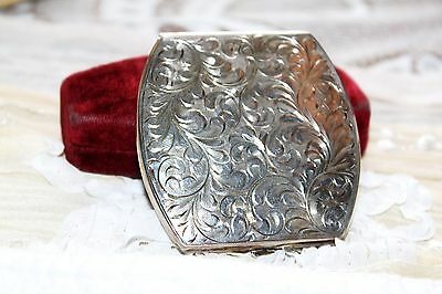 Fabulous STERLING SILVER Etched Art Deco BIRKS Compact Mirror 70g