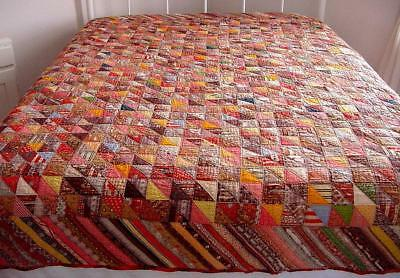 Vtg 1900s Hand Stitched Red Autumn Colors Reversible Feedsack Triangles Quilt