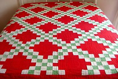 Antique 1900s Irish Triple Chain Red Green Xmas Colors Feedsack Quilt Vtg