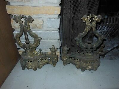 A Pair Of French Gilt Bronze Andirons Chenets Louis XVI Style Firplace