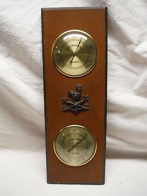 Vintage Verichron Wood Wall Weather Station Hygrometer Thermometer