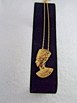 Vintage AVON Signed Gold Tone Pharaoh Egyptian Brooch Pendant Necklace 28 ""