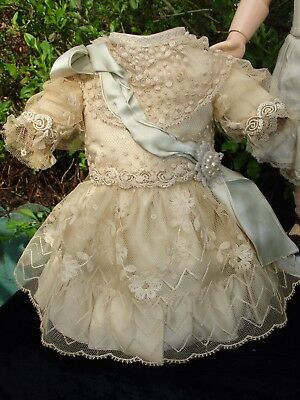 "Antique Silk and Lace Dress & Hat for French or German 15"" Doll Jumeau Kestner"