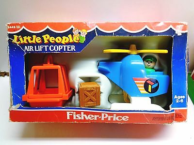 VINTAGE Fisher Price Little People #2449 AIR LIFT COPTER 100% COMPLETE WITH BOX
