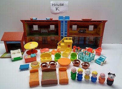 VINTAGE Fisher Price Little People #952 BROWN HOUSE 100% complete plus Extras #K