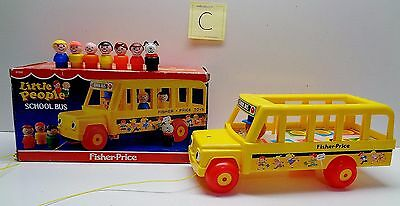 VINTAGE Fisher Price Little People #192 SCHOOL BUS - 100% COMPLETE WITH BOX #C