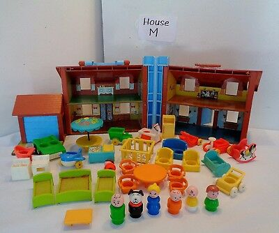 VINTAGE Fisher Price Little People #952 BROWN HOUSE 100% complete plus Extras #M