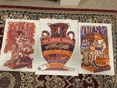 PHISH Jim Pollock The Greek Theater 2010 Poster Set August 5-6-7,2010 Signed #