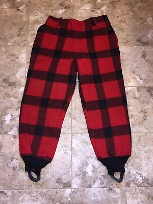 Vintage Heavy White Stag Westwood Plaid Wool Hunting Pants Men's Size 42