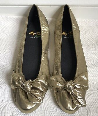 Vtg Gold Lamé Ballet Flats Shoes Bow Detail Made in USA My-Tai Casuals Sz 8.5 N