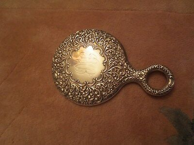 Vintage Sterling Silver Vanity Hand Mirror Floral Repousse Mono.