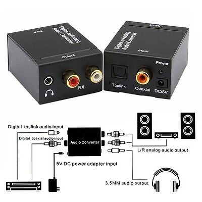Optical Coaxial Toslink Signal Digital to Analog Audio Converter Adapter RCA L/R