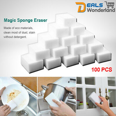100 Bulk Pack Magic Sponge Eraser Melamine Cleaning Foam Stain Dirt Remover