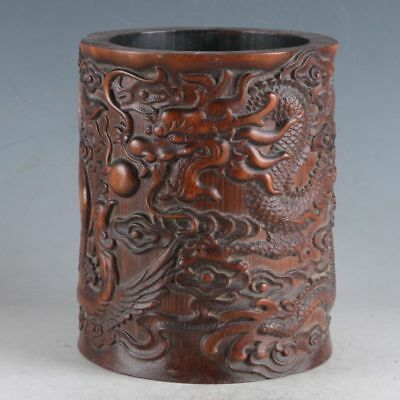 Chinese Bamboo Hand-Carved Dragon & Phoenix Brush Pot DY492