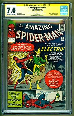 Amazing Spider-Man #9 (1964 Marvel) 1st app of Electro Signed Stan Lee CGC 7.0