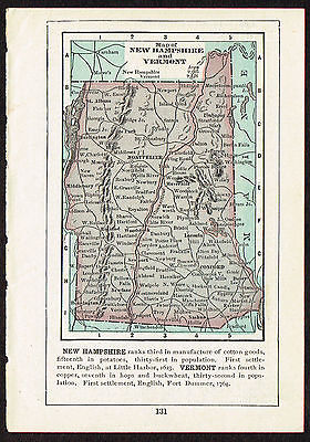 1892 small old antique vintage paper us state map of new hampshire vermont