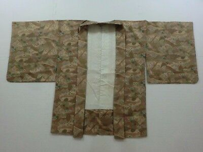 Japanese Vintage Kimono ,HAORI ,SILK, Beige, Repeating pattern, P092365