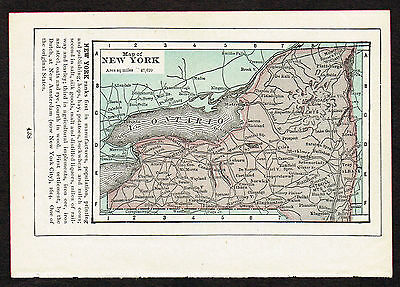 1892 small old antique vintage paper us state map of new york