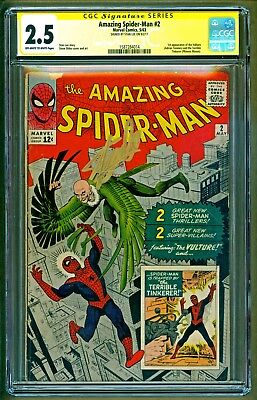 Amazing Spider-Man #2 (1963 Marvel) 1st app of Vulture Signed Stan Lee CGC 2.5