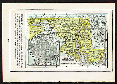 1892 small old antique vintage paper us state map of maryland