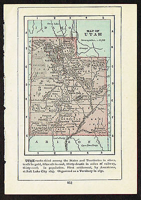 1892 small old antique vintage paper us state map of utah