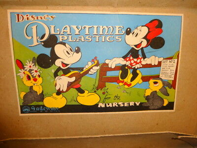 "1950s Disney Mickey Mouse Playtime Plastics ""For The Nursery."" Mint & Complete"