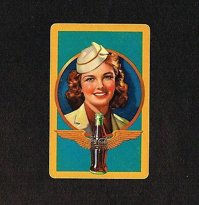 1940s Old Vintage Coca-Cola Ad Airline Flight Stewardess Art Single Playing Card