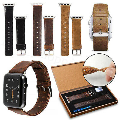 Genuine Leather Wrist Band Strap For Apple Watch All Series iWatch 38/40/42/44mm