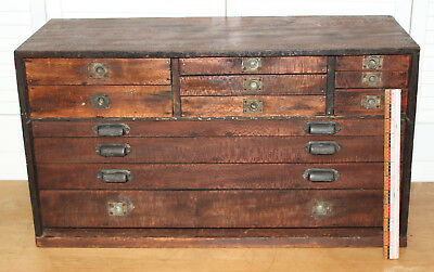Old Tools Vintage Antique 12 Drawer Wood Machinist tool Box chest