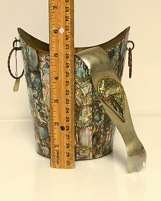 Vintage Abalone Ice Bucket and Tongs Mexico Alpaca Silver