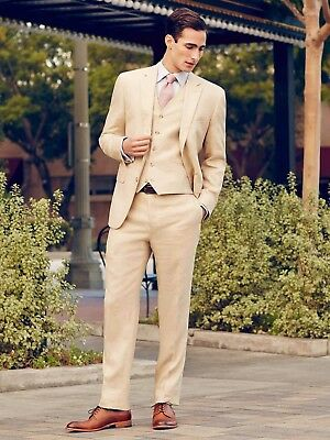 New Arrival Beige Cream 3Pcs Tuxedos Groom Men's Suits Formal Party Suit Custom