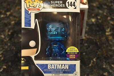 Sdcc 2017 Rare Funko Pop Blue Chrome Batman By Toy Tokyo #144