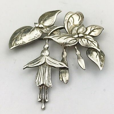Vintage Solid Sterling Silver Huge Large Blue Bell Flower Pin Brooch