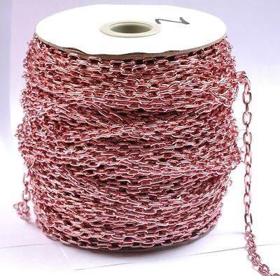 2M Pink Plated Cable Open Link Iron Metal Chain Jewelry Findings