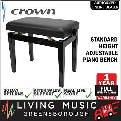 NEW Crown Standard Height Adjustable Piano Keyboard Bench Stool (Black)