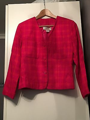 Ladies Vintage Sz 10-12 Pink And Orange Blazer Suit Jacket Liz Claiborne Office