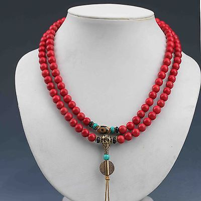 Chinese Collectibles Handwork Red Coral &Turquoise Prayer Bead  Necklace G691