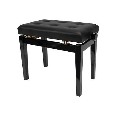 NEW Crown Standard Tufted Height Adjustable Piano Keyboard Stool Bench (Black)