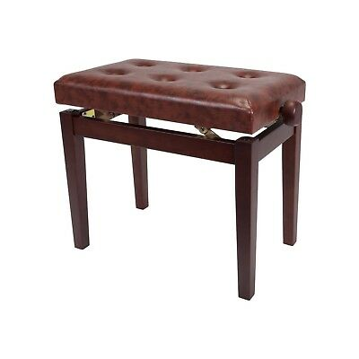 NEW Crown Standard Tufted Height Adjustable Piano Keyboard Stool Bench (Walnut)