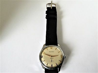 rare VINTAGE ROTARY SHOCK PROOF INCABLOC 17 JEWELS  GENTS WATCH 1960S
