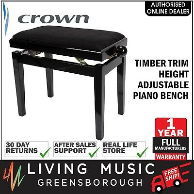 NEW Crown Timber Trim Height Adjustable Piano Keyboard Stool Bench Black Velvet