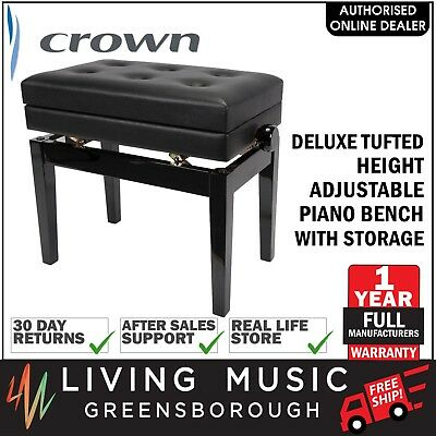 NEW Crown Deluxe Tufted Height Adjustable Piano Stool Storage Compartment Black