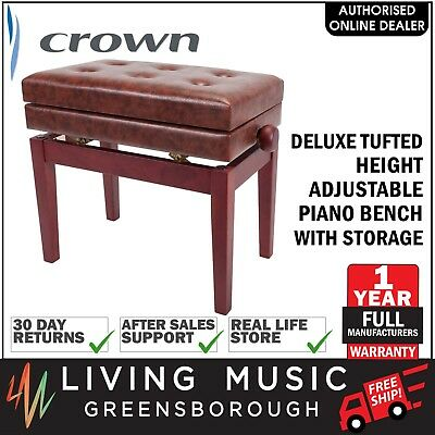 NEW Crown Deluxe Tufted Height Adjustable Piano Stool Bench Storage Compartment