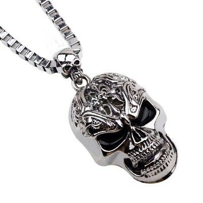 Vintage Mens Womens Stainless Steel Skull Head Pendant Chain Rock Punk Necklace