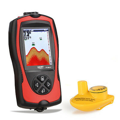 2 in 1 Wireless Color Screen Sonar Smart Fish Finder W/Alarm LCD Display Outside