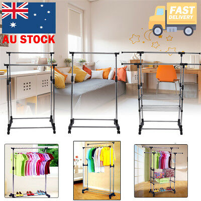Single/Double Rail Garment Display Adjustable Portable Clothes Dress Rack Hanger