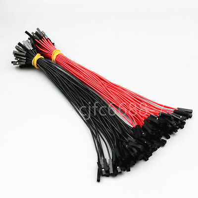 100Pcs Female To Female Red Black 26AWG 20CM Dupont Wire Connectors Jumper Cable