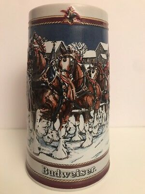 SPECIAL EDITION 1989 Budweiser Holiday Stein Clydesdale Collectors Series