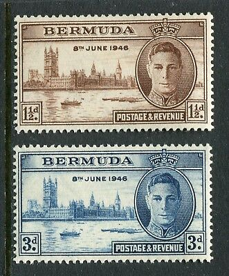 Bermuda: 1946 George VI Victory Set of 2 Stamps SG123-124 MNH AW298
