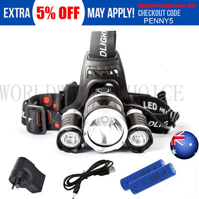 2018 RECHARGEABLE 15000LM CREE 3T6 XML LED HEADLAMP HEADLIGHT TORCH Camping